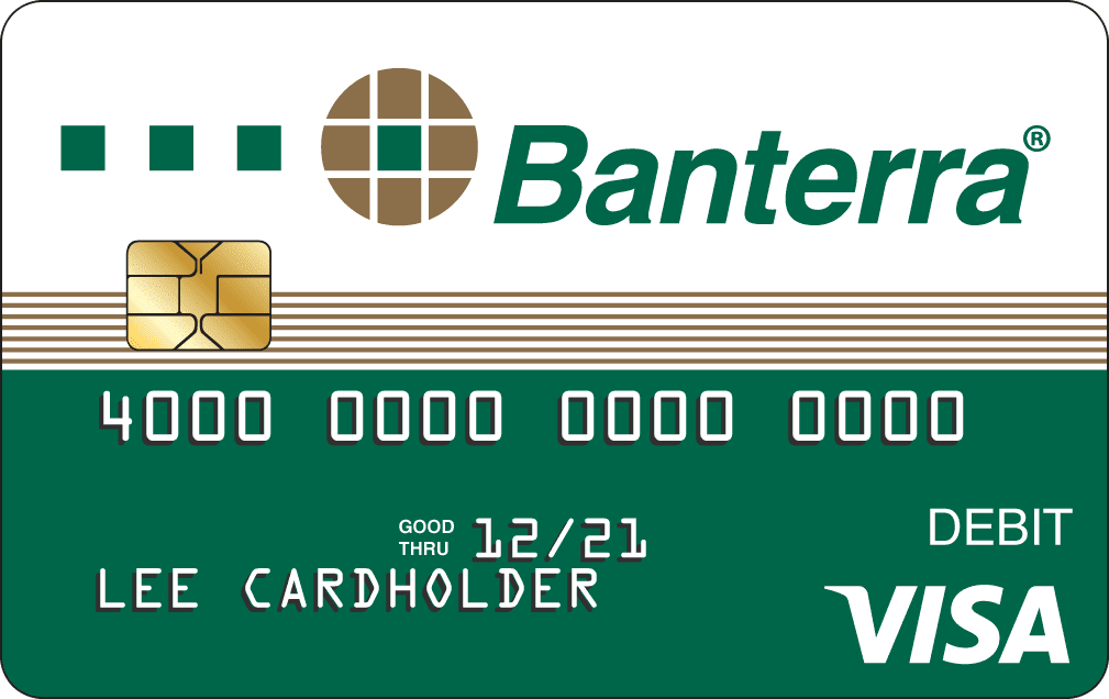 Banterra Bank green Personal debit card artwork